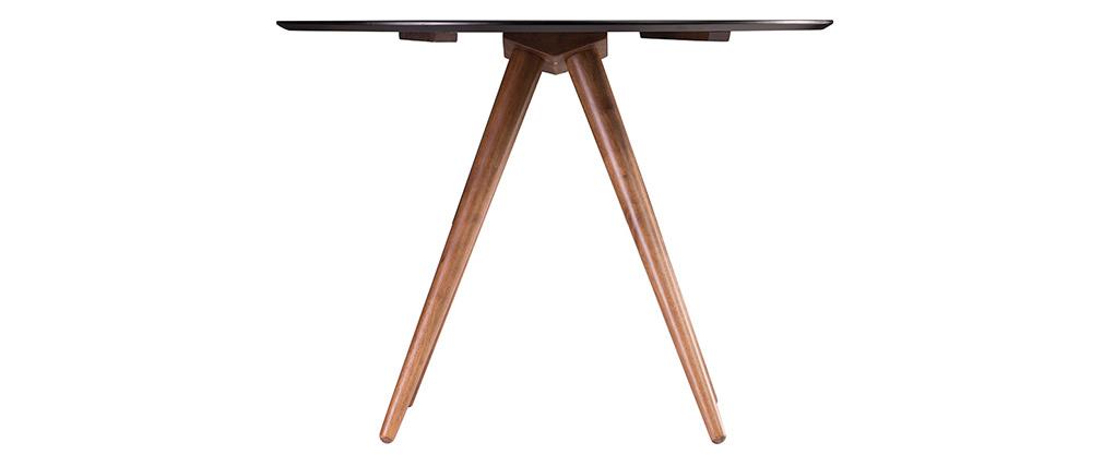Tavolo da pranzo rotondo design 106 cm noce e nero WALFORD