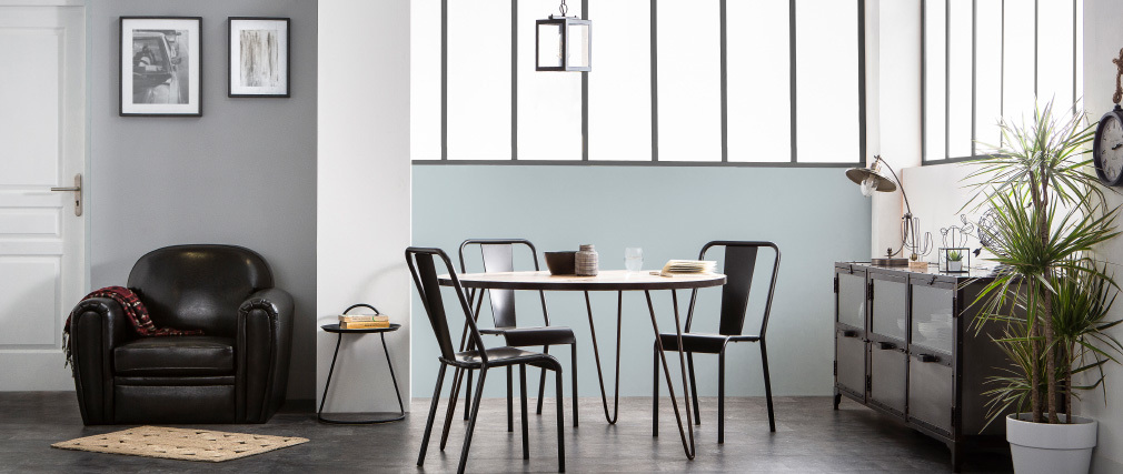 Tavolo da pranzo rotondo industriale in legno metallo D125 ATELIER