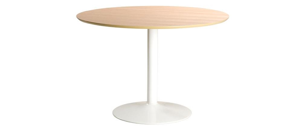 Tavolo da pranzo rotondo legno chiaro e metallo bianco D110 cm KALI