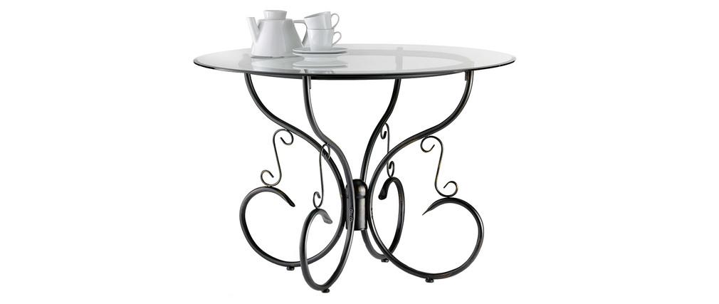 Tavolo da pranzo stile ferro battuto e vetro temperato FLORENCE - Miliboo