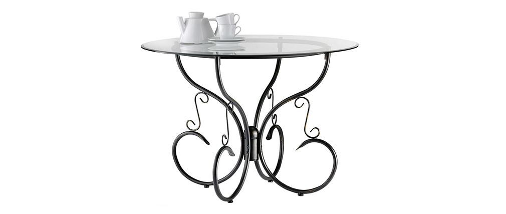 Tavolo da pranzo stile ferro battuto e vetro temperato FLORENCE