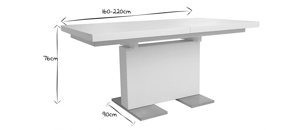 Tavolo design allungabile laccato bianco L160-220 NEMIA