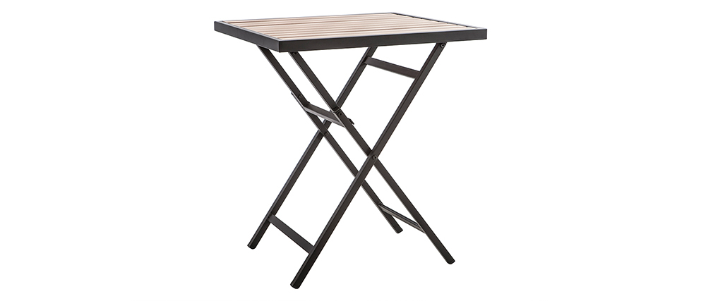 Tavolo e 2 sedie pieghevoli nero e legno MOJITO