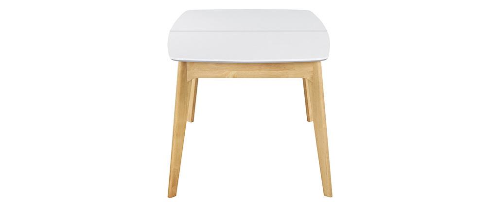 Tavolo estensibile scandinavo bianco e legno L140-180 MEENA