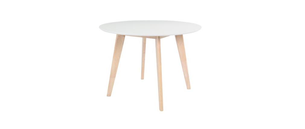Tavolo in legno naturale e color bianco D100 LEENA