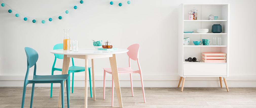 Tavolo in legno naturale e color bianco LEENA