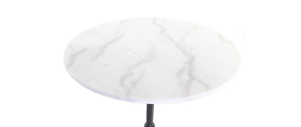 Tavolo in stile bistrot in marmo Bianco e metallo Nero CONTY