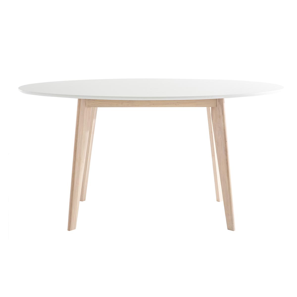Tavolo ovale 150cm bianco e legno chiaro LEENA