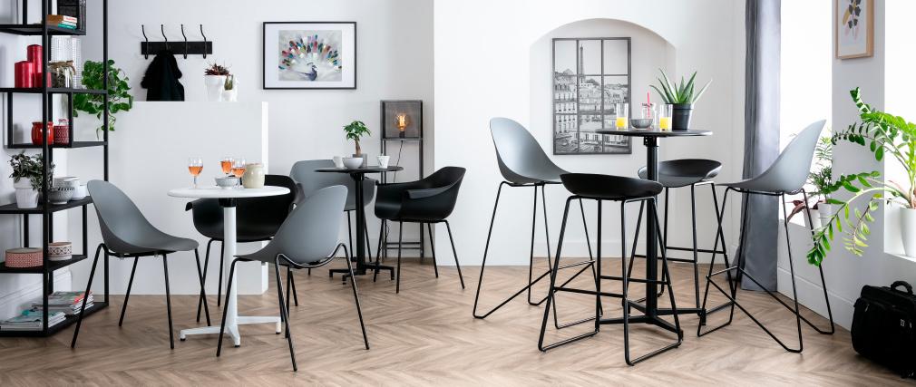 Tavolo pieghevole rotondo in metallo bianco D60 DOTS