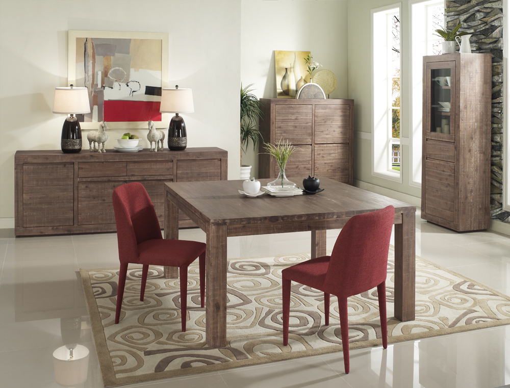 Tavolo quadrato design allungabile acacia tinto colore grigio SAUVAGE - Miliboo