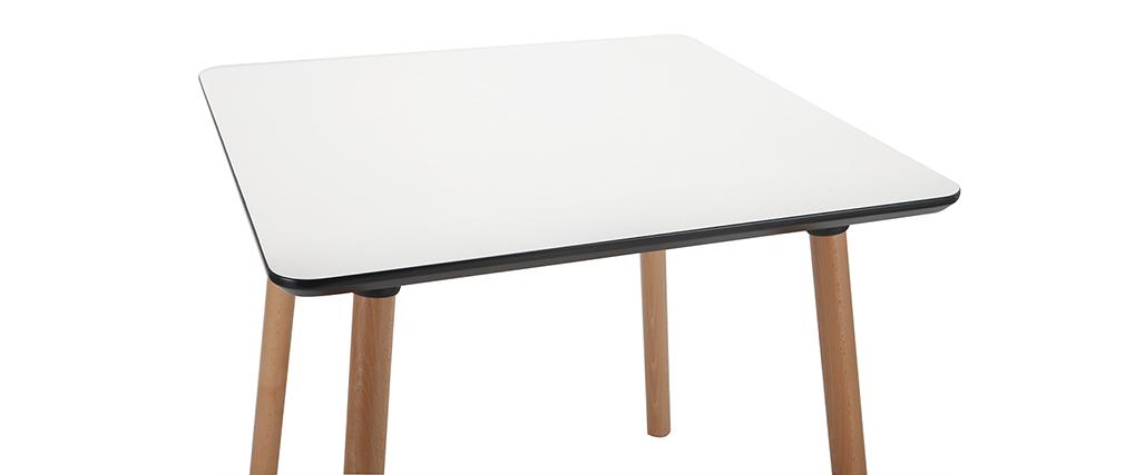 Tavolo quadrato design Bianco con piedi in legno 80 cm BRUNCH