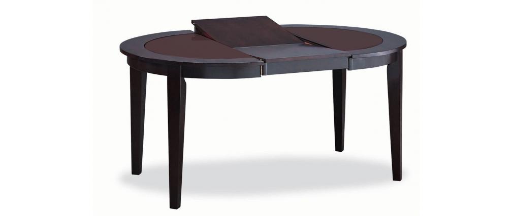 Tavolo rotondo allungabile sara  quercia colore wengé  piano vetro ...