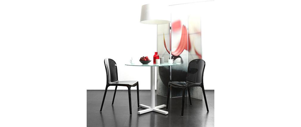 Tavolo rotondo  design bianco e vetro temperato  BAYA
