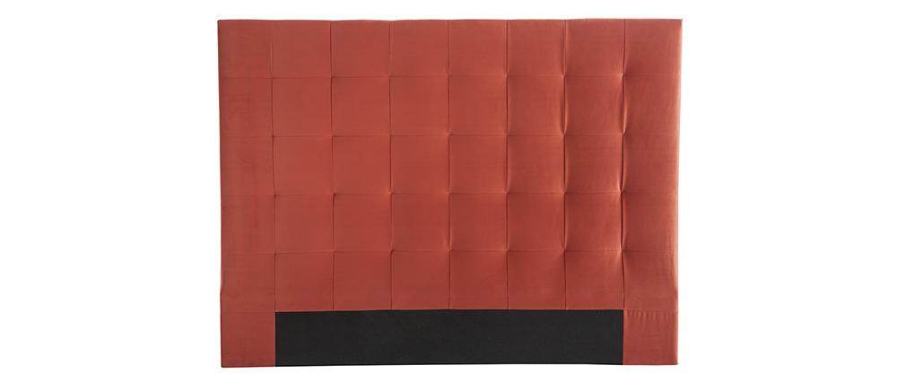 Testata letto capitonné effetto velluto terracotta 160 cm HALCIONA
