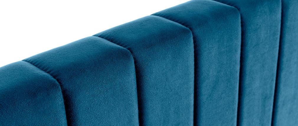 Testata letto in velluto blu petrolio L170 cm NEHA