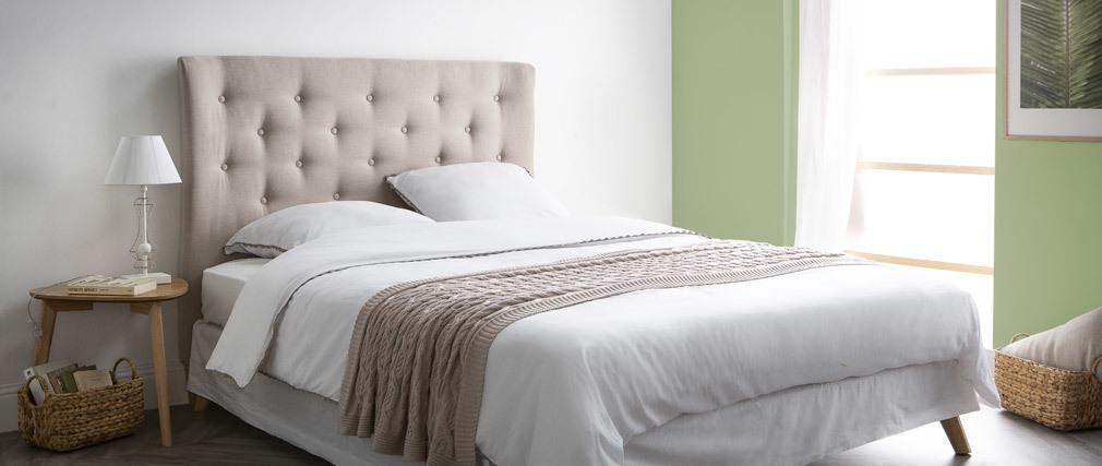 Testiera del letto 140 cm in ?capitonné? in tessuto Beige EROS