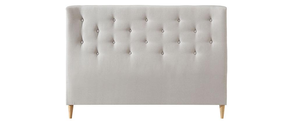 Testiera del letto 170 cm imbottita in tessuto beige EROS
