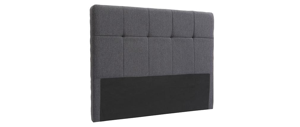 Testiera del letto classica in tessuto Grigio scuro 140cm CLOVIS