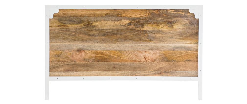 Testiera del letto in mango e metallo Bianco 165cm PUKKA