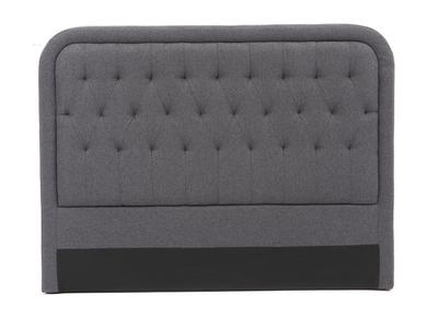 Testiera del letto in tessuto, colore: Grigio scuro, dimensioni: 160cm, modello: LOUIS