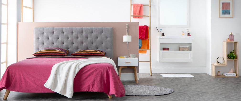 Testiera del letto in tessuto Grigio scuro 140cm ENGUERRAND