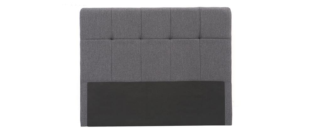 Testiera del letto in tessuto Grigio scuro 160cm CLOVIS