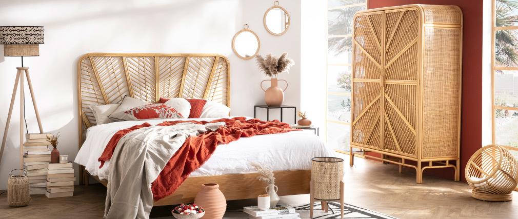 Testiera del letto lit 160 in rattan GALON