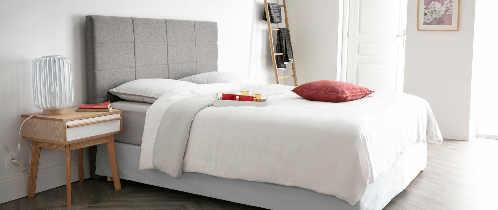 Testiera del letto moderna in tessuto blu anatra 140cm ANATOLE