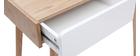 Toeletta moderna con specchio e cassetti legno e bianco TAYA
