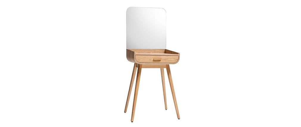 Toeletta trucco moderna con cassetto e specchio frassino HALLEN